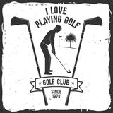 Golf club concept. Golf club concept with golfer silhouette. Vector golfing club retro badge. Concept for shirt, print, seal or stamp. Typography design- stock Stock Image