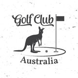 Golf club concept with kangaroo silhouette. Royalty Free Stock Image