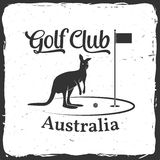 Golf club concept with kangaroo silhouette. Stock Photography
