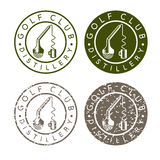Golf club distillery concept labels with broken Royalty Free Stock Photo