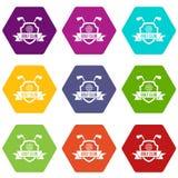 Golf club emblem icon set color hexahedron Stock Images