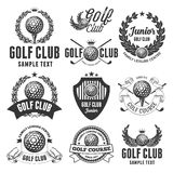 Golf Club Emblems. Set of Emblems, Logos and Labels on Golf Theme and for Golf Club. Vector Illustration. Isolated on White Background Royalty Free Stock Image
