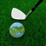Golf club and globe Royalty Free Stock Photography
