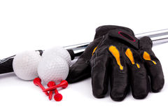 Golf club and glove with ball and tees on white background Royalty Free Stock Photo