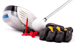 Golf club and glove with ball and tees on white background Royalty Free Stock Photography