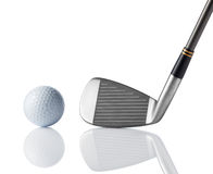 Golf club and golf ball. Golf club and ball on white background royalty free stock photos