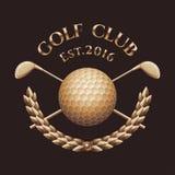 Golf club, golf course vector logo. Golden wreath emblem Stock Image