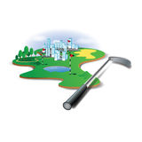 Golf Club And Golf Field. Illustration Royalty Free Stock Photos
