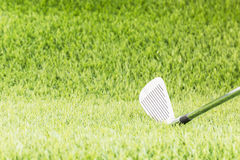 Golf club on green grass Stock Photos