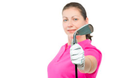 golf club in hand a golfer close up in focus Royalty Free Stock Photo