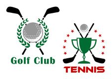 Golf club heraldic logo or emblems Stock Photos