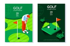 Golf club hole green circle tournament poster template. Hobby sport golf poster template with hole and green for circle tournament. Vector design in modern style Stock Photos