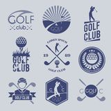 Golf club label. Golf club sport game competition black and white label set isolated vector illustration Stock Photography