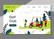 Golf club landing page template, golfing school concept with golf car, banner website - vector illustration stock illustration