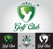Golf Club Logo And Icon 2. Golfer swinging a driver. Elements are labeled and layered for easier color changes Vector Illustration