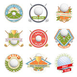 Golf club logo set. Golf labels and badges. Logotype competition or game, tournament symbol, vector illustration Royalty Free Stock Image