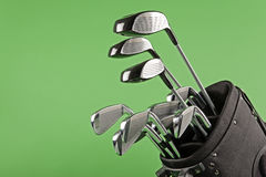 Golf club set on chroma green Stock Image