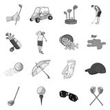 Golf club set icons in monochrome style. Big collection of golf club vector symbol stock illustration Royalty Free Stock Photo