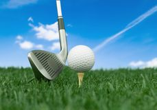 Golf Club. Golf Tee Golf Course Ball Vertical Turf Royalty Free Stock Photography