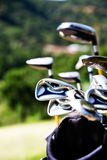 Golf clubs. Bunch of golf clubs in the bag Stock Photo