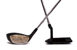 Golf clubs. Vintage golf clubs on white stock photos