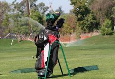 Golf Clubs. At driving range Stock Image