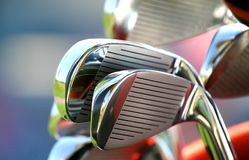 Golf Clubs. Many new shiny golf clubs ready to play Royalty Free Stock Photography