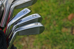 Golf Clubs. (irons) with scuff marks Royalty Free Stock Images