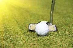 Golf clubs and golf ball in golf course. Golf clubs andg olf ball on golf course in thailand Stock Image