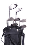 Golf Clubs in Bag. Set of golf clubs in a black bag on a white background royalty free stock photos