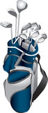 Golf Clubs in Bag. Illustration of a set of gold clubs in a blue and gray gold bag Royalty Free Stock Photo