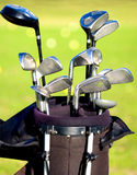 Golf clubs in a bag Stock Photo