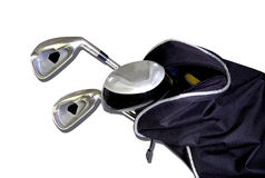 Golf clubs in a bag. Isolated on white background Royalty Free Stock Images