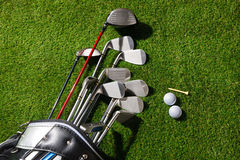 Golf clubs in the bag,balls and tee on grass Stock Photography