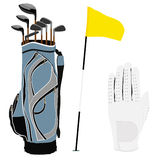 Golf clubs bag, flag and white glove Stock Photography