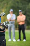 Golf clubs in bag at golf course Stock Images