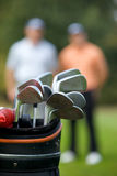Golf clubs in bag at golf course Stock Photo