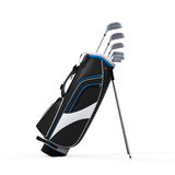 Golf Clubs and Bag Isolated. On white background. 3D render Stock Images