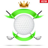 Golf clubs and ball with ribbons Stock Photos