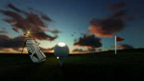 Golf clubs and ball on tee with red flag against beautiful timelapse sunrise, focus shift. Hd video stock footage
