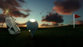 Golf clubs and ball on tee with red flag against beautiful timelapse sunrise, focus shift, panning stock video