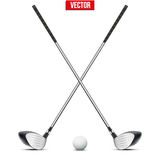 Golf clubs and ball. Vector Stock Photography