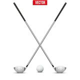 Golf clubs and ball. Vector. Stock Photos