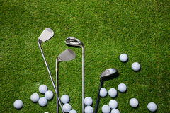 Golf clubs and balls Stock Photography