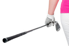 Golf clubs close up in hands the athlete on a white background royalty free stock image