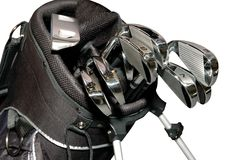 Golf-clubs dans un sac d'isolement Photo stock