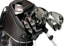 Golf-clubs dans un sac d'isolement Photo stock
