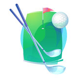 Golf clubs and flying ball over field with flag Stock Photos