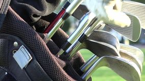 Golf Clubs, Golf Bag. Stock video of golf clubs stock video footage