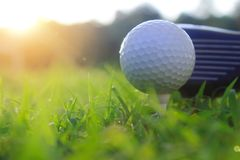 Golf clubs and golf balls on a green lawn stock image